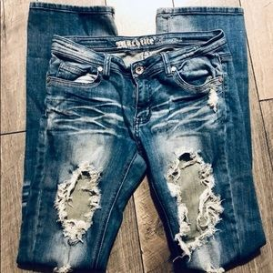 Machine Distressed ripped Jeans size 9 bf fit